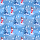 Seamless background on New Year s theme. A lot of snowmen and christmas tree blue stripe snowdrift. Stock Photography