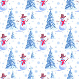 Seamless background for New Years holiday. A lot of snowmen and christmas tree on white. Endless winter pattern. Seamless vector illustration of background on Royalty Free Stock Image