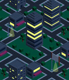 Seamless background night city. Isometric Stock Images