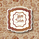 Seamless background with nuts and an inscription in the middle Royalty Free Stock Photography
