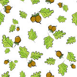 Seamless background with oak leaves and acorns Royalty Free Stock Images
