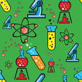 Seamless background with objects of chemistry Royalty Free Stock Image