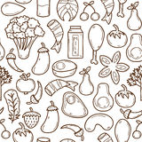 Seamless background with objects in hand drawn. Outline style on paleo diet theme: meat, fish, fruits, vegetables, spices, nuts. Healthy food concept for your Royalty Free Stock Image