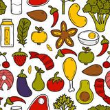 Seamless background with objects in hand drawn. Style on paleo diet theme: meat, fish, fruits, vegetables, spices, nuts. Healthy food concept for your design Royalty Free Stock Images