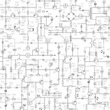 Seamless Background Of Electrical Circuit With Signatures. Royalty Free Stock Photos