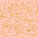 Seamless Background Of Pink Roses With A Gold Outl Stock Images