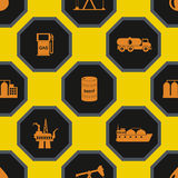 Seamless background with oil and petroleum theme Stock Images