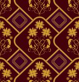 Seamless background in old baroque style with gold patterns. On dark red area Royalty Free Stock Photo