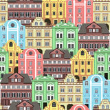 Seamless background with old colorful buildings for wallpaper or background design. Royalty Free Stock Photos