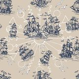 Seamless background with old sailing ship, gulls, compass and treasure islands on white. Pirate adventures, treasure hunt and old transportation concept. Hand Stock Photography