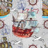 Seamless background with old sailing ships, marine symbols and gulls Stock Images