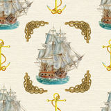 Seamless background with old ship and knotted rope Stock Images