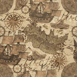 Seamless background with old ships and pirate map elements in sepia tone Stock Photo