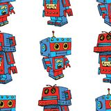 Seamless background of old toy robots Stock Image