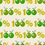 Seamless background with one hundred percent green apple symbol stock illustration