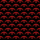 Seamless background with optical art elements in red color on black background. Scale patterns with 3d gradient effect. Royalty Free Stock Photos