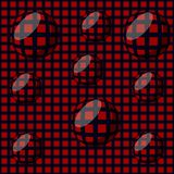 Seamless background in optical art style, red and black grid with balls Royalty Free Stock Photo