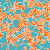 Seamless background with orange leaves. Seamless natural background with orange hand-drawn leaves on a blue background Stock Photos