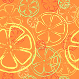 Seamless background - Orange and Lemon - Illustrat. Lemons and oranges are in a cut, on an orange background Royalty Free Stock Photography