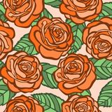 Seamless background. orange roses with green leaves in the old style Stock Photos