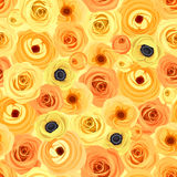 Seamless background with orange and yellow flowers. Vector illustration. Stock Images