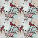 Seamless background with origami cranes and floral ornament Royalty Free Stock Photo