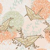 Seamless background with origami cranes and floral ornament. Vector illustration Royalty Free Stock Photo