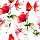 Seamless background with Original flowers Royalty Free Stock Image