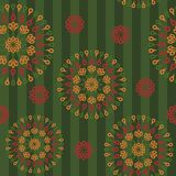 Seamless background with ornament. On green Royalty Free Stock Photo