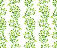 Seamless background - ornament with green scrolls and leaves. Watercolor. Seamless background - ornament with green scrolls with leaves. Watercolor royalty free stock images