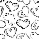 Seamless background, outline hearts Royalty Free Stock Images