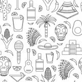 Seamless background with outline objects on Mexico Royalty Free Stock Photos