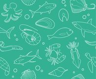 Seamless background with outline pictures of seafood. Seamless background with outline pictures of fish and seafood Stock Images