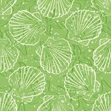Seamless background, outline seashells Royalty Free Stock Images