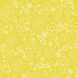 Seamless Background with Outlined Summer Stuff Stock Image