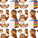 Seamless background with owl and books Stock Photos
