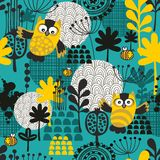 Seamless background with owls. Royalty Free Stock Photography