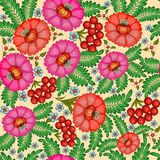 seamless background painted with flowers and berries Stock Photos