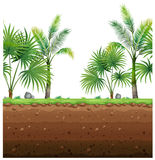 Seamless background with palm trees and underground scene stock illustration