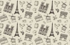 Seamless background with Paris sketches Stock Photography