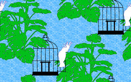 Seamless background with parrot. Beautiful seamless background with a bird cage, a cockatoo and Monstera Stock Photos