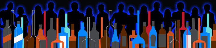 Seamless background party people and liquor bottles Royalty Free Stock Photo