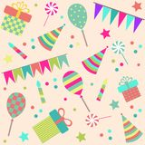 Seamless background with party stuff Stock Photo