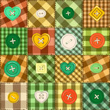 Seamless background of patchworks and buttons Stock Image