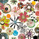 Seamless background pattern, with abstract flowers, Stock Illustration