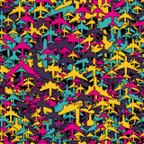 Seamless background pattern with airplanes Stock Photos