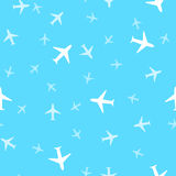 Seamless background pattern of airplanes in the sky.  Vector ill Royalty Free Stock Image