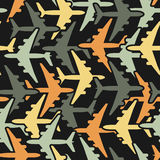 Seamless background pattern with airplanes Stock Photography