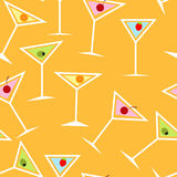 Seamless Background Pattern of  Alcoholic Cocktail Royalty Free Stock Photography