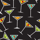 Seamless Background Pattern of  Alcoholic Cocktail Stock Images